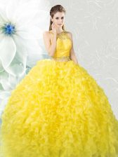 Wonderful Scoop Sleeveless Zipper Vestidos de Quinceanera Yellow Organza