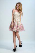 Cute Lace Multi-color Sleeveless Mini Length Appliques Zipper Prom Gown