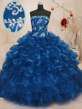 Best Floor Length Ball Gowns Sleeveless Blue Quinceanera Dresses Lace Up