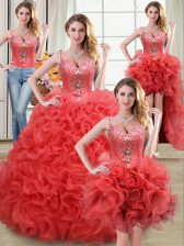 Superior Four Piece Coral Red Fabric With Rolling Flowers Zipper Straps Sleeveless Floor Length 15 Quinceanera Dress Beading and Ruffles