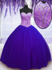 Hot Sale Floor Length Blue Quinceanera Gowns Sweetheart Sleeveless Lace Up