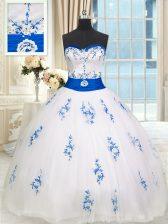 Delicate Sleeveless Lace Up Floor Length Appliques and Belt Quinceanera Dresses