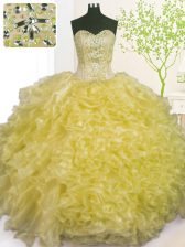 Sleeveless Organza Floor Length Lace Up Vestidos de Quinceanera in Light Yellow with Beading and Ruffles and Pick Ups