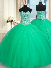 Discount Green Sleeveless Floor Length Beading and Sequins Lace Up Quinceanera Dresses