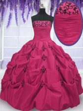 Pick Ups Hot Pink Sleeveless Taffeta Lace Up Quinceanera Gowns for Military Ball and Sweet 16 and Quinceanera