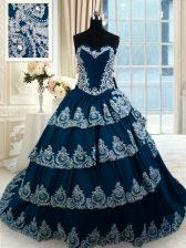Navy Blue Lace Up Sweetheart Beading and Appliques and Ruffled Layers Quinceanera Dress Taffeta Sleeveless Court Train