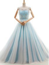 Light Blue A-line Tulle Scoop Sleeveless Beading With Train Lace Up Prom Dresses Court Train