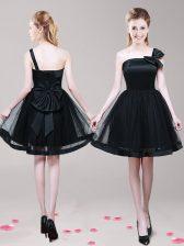 One Shoulder Bowknot Homecoming Dress Black Zipper Sleeveless Mini Length