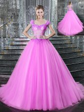 Dynamic Straps Fuchsia Sleeveless With Train Beading and Appliques Lace Up 15 Quinceanera Dress