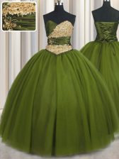 Olive Green Sleeveless Beading and Ruching and Belt Floor Length Sweet 16 Dresses