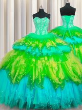 Bling-bling Visible Boning Multi-color Tulle Lace Up Quinceanera Gowns Sleeveless Floor Length Beading and Ruffles and Ruffled Layers and Sequins