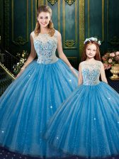 Delicate Floor Length Baby Blue Sweet 16 Dresses Tulle Sleeveless Lace