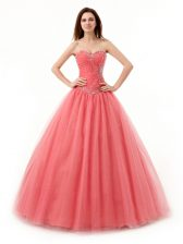 Superior Sweetheart Sleeveless Quince Ball Gowns Floor Length Beading and Ruching Watermelon Red Tulle