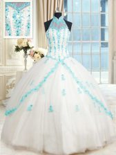 Cheap Halter Top Sleeveless Tulle Floor Length Lace Up Sweet 16 Dresses in White with Beading and Appliques
