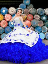New Arrival White and Blue Sleeveless Brush Train Embroidery and Ruffles With Train Sweet 16 Dresses