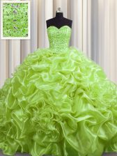 Organza Sleeveless With Train Sweet 16 Dress Court Train and Beading and Pick Ups
