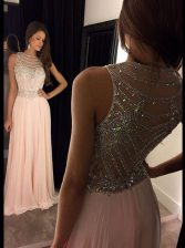 Clearance Scoop Sleeveless Beading Side Zipper Prom Evening Gown