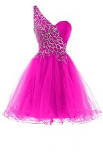 Fine Fuchsia Dress for Prom Prom and Party with Beading One Shoulder Sleeveless Zipper