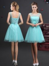 Stunning Scoop Mini Length A-line Sleeveless Aqua Blue Dama Dress for Quinceanera Lace Up