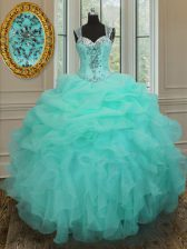 Straps Apple Green Zipper 15th Birthday Dress Beading and Ruffles Sleeveless Floor Length