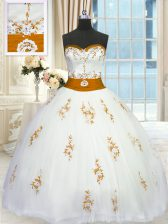 Luxurious White Sleeveless Appliques and Belt Floor Length 15 Quinceanera Dress