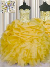 Exquisite Pick Ups Floor Length Gold Sweet 16 Dress Sweetheart Sleeveless Lace Up
