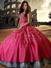 Sexy Hot Pink Ball Gowns Sweetheart Sleeveless Taffeta Floor Length Lace Up Beading and Embroidery 15th Birthday Dress