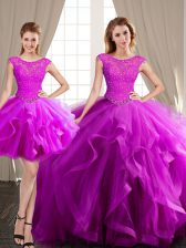 Popular Three Piece With Train Fuchsia Quinceanera Gowns Scoop Cap Sleeves Brush Train Lace Up