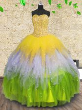 Floor Length Lace Up Quince Ball Gowns Multi-color for Prom and Party with Beading and Ruffles and Sequins