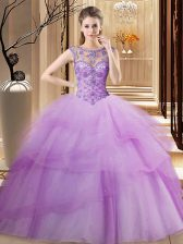 Beauteous Lilac Lace Up Scoop Beading and Ruffled Layers Quinceanera Gown Tulle Sleeveless Brush Train