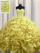 Sleeveless With Train Beading and Pick Ups Lace Up Quinceanera Dress with Gold Court Train