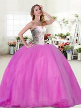Extravagant Beading Quince Ball Gowns Lilac Lace Up Sleeveless Floor Length