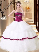 Stunning White Sleeveless Organza Lace Up Vestidos de Quinceanera for Military Ball and Sweet 16 and Quinceanera
