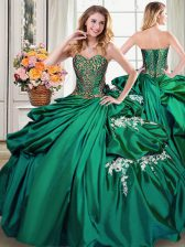 Shining Pick Ups Floor Length Dark Green Ball Gown Prom Dress Sweetheart Sleeveless Lace Up