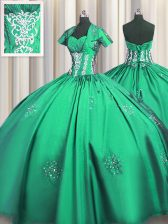 Customized Floor Length Turquoise Sweet 16 Dress Sweetheart Short Sleeves Lace Up