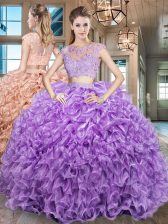 Clearance Purple Zipper Scoop Beading and Appliques and Ruffles Ball Gown Prom Dress Organza Cap Sleeves