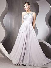 Pretty One Shoulder Sleeveless Side Zipper Floor Length Beading Prom Dresses