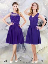 Top Selling Scoop See Through Purple Sleeveless Lace and Appliques Knee Length Quinceanera Court of Honor Dress