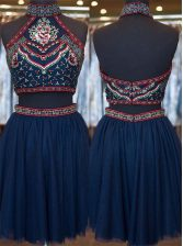Edgy Navy Blue A-line Embroidery Prom Dress Zipper Organza Sleeveless Knee Length