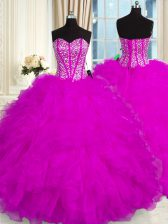 Custom Made Sweetheart Sleeveless Organza 15 Quinceanera Dress Beading and Ruffles Lace Up