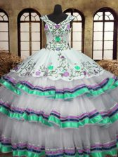 Ruffled Ball Gowns Sweet 16 Dress White Straps Organza and Taffeta Sleeveless Floor Length Lace Up