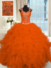 Fashionable Straps Cap Sleeves Lace Up Quinceanera Dress Orange Red Organza