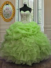 Designer Ball Gowns Beading and Pick Ups Sweet 16 Quinceanera Dress Lace Up Organza Sleeveless Floor Length