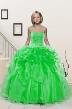 Glorious Ball Gowns Sweetheart Sleeveless Organza Floor Length Lace Up Beading and Pick Ups Kids Formal Wear