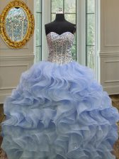 Glittering Lavender Sleeveless Floor Length Beading and Ruffles Lace Up 15 Quinceanera Dress