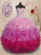 Flare Multi-color Organza Lace Up Sweet 16 Quinceanera Dress Sleeveless Floor Length Beading and Ruffles