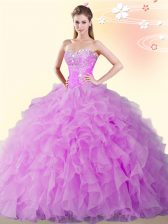Lilac Ball Gowns Organza Sweetheart Sleeveless Beading and Ruffles Floor Length Lace Up Quinceanera Dresses