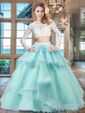 Scoop Lace Ruffled Floor Length Two Pieces Long Sleeves Aqua Blue Quinceanera Gowns Zipper