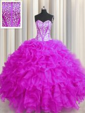 Visible Boning Beaded Bodice Fuchsia Sweetheart Lace Up Beading and Ruffles Quinceanera Dresses Sleeveless