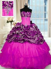 Spectacular Fuchsia 15th Birthday Dress Organza and Printed Sweep Train Sleeveless Beading and Ruffled Layers and Sequins